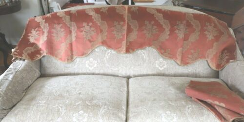 "Antique c1870 French Silk & Cut Velvet Terracotta Color Valance 72""X18"""