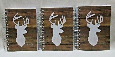 Lot Of 3 Buck Deer Antlers Sm Spiral Notebooks 5.5 X 4.0 180 Pgs Memorabilia