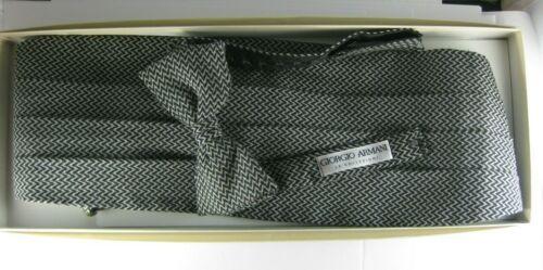 Vintage Giorgio Armani Black Herringbone Tuxedo Bow Tie Cummerbund Set with Box
