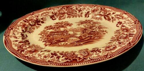 """Alfred Meakin ~ Tonquin ~ Red Transferware ~ Oval Platter 12"""" ~ England"""