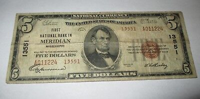 5 1929 Meridian Mississippi Ms National Currency Bank Note Bill  Ch  13551 Fine