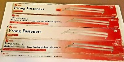 Lot of 4 ACCO 12995 Standard 2 Piece Paper File Fasteners 50/box (200 total) (Acco 2 Piece Paper Fasteners)