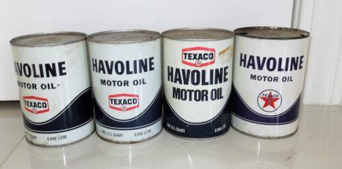 4 VINTAGE TAXECO HAVOLINE MOTOR OIL QUART CAN LOT