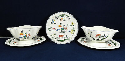 """20-PCS (OR LESS) OF GIEN """"BIRD OF PARADISE"""" CHINA (GRAVY BOATS & 7 1/4"""" PLATES)"""