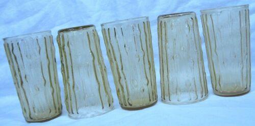 5 vintage Anchor Hocking TAHITI Bamboo amber yellow glass tumblers MCM -12 oz.