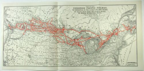Canadian Pacific Railroad - Original 1927 System Map. Vintage CP