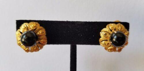 Vintage 12K Yellow Gold Onyx Flower Earrings