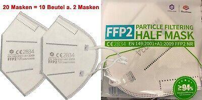 20 Stück FFP2 Masken CE Zertifiziert Maske Atemschutz Versand aus Deutschland
