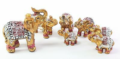 Feng Shui Set of 7 Small Gold Elephant Family Statues Figurines Gift Home Decor
