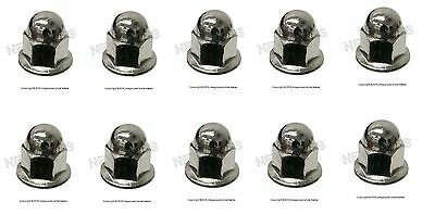 NEW For Volvo License Plate Mounting Nut Chrome Acorn Metric 6MM 10 pack #968458