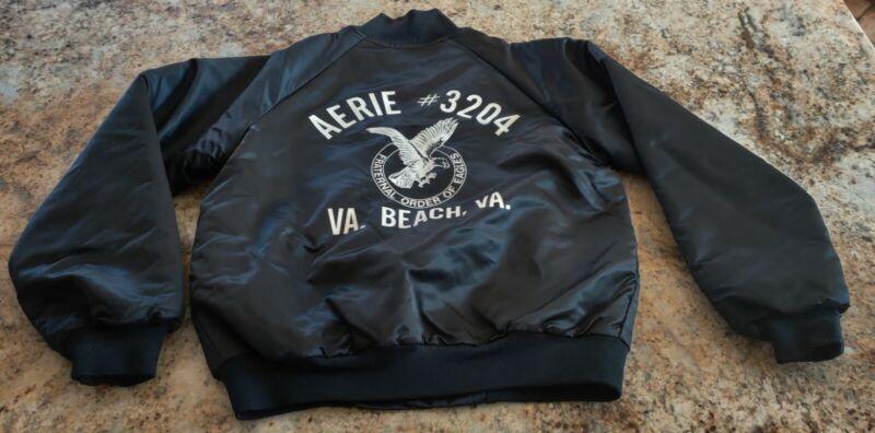 Vtg Fraternal Order of Eagles FOE Satin Jacket USA Snap M Virginia Beach AEIRE