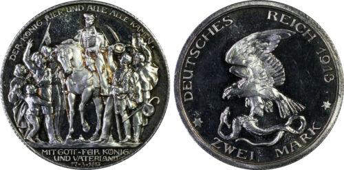 1913 Prussia German Empire Silver 2 Mark PCGS PR66DCAM - A30