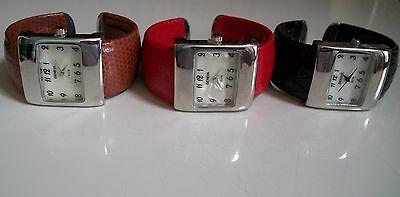 - Women's Designer Style Asst.Color Leather Cuff Bangle Quartz Wrist Fashion Watch