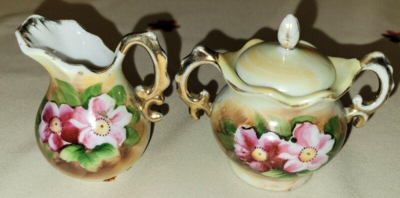 Vintage Enesco Miniature Creamer And Sugar Bowl With Lid Set E2351