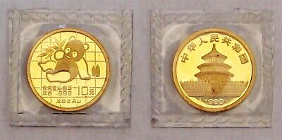 1989 China GOLD Panda 1/10-OZ UNC - FREE Shipping - Nice!