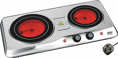 Portable Ceramic Electric Hot Plate Infrared Hob Double Cooker Stainless Steel