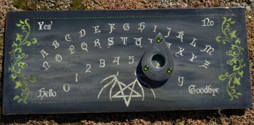 Ouija Board Black Pentagram Gothic Wood Hand Painted Green Victorian Steampunk