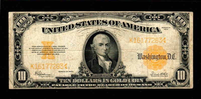 1922 $10 Gold Certificate Currency