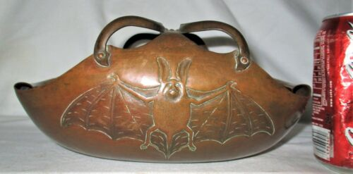 ANTIQUE ARTS CRAFTS MISSION HAMMERED COPPER GOTHIC WING BAT ROLLED EDGE ART BOWL