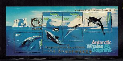 Australia Antarctic Territory MNH Whales SS Overprinted Singapore L97b CV $65