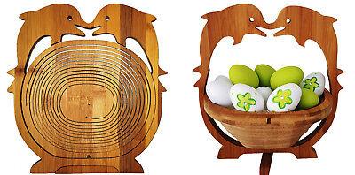 DELFINO FRUTTIERA CESTINO PIEGHEVOLE CESTO 30x30cm di frutta ciotola in legno