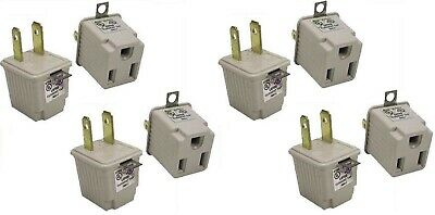 EIGHT Pack 3 Prong Plug To 2 Prong Socket Outlet Adapters 3-2 Adapter