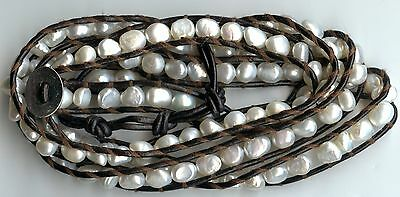 6 - 7MM WHITE FRESHWATER PEARL & BROWN LEATHER SINGLE STRAND WRAP CUFF BRACELET - Strand 7mm White Pearl Bracelet