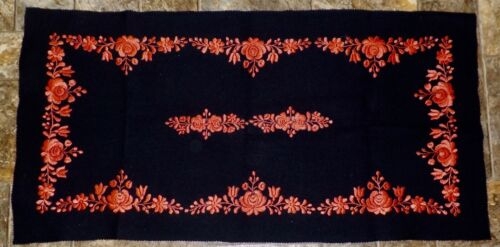 Vintage Striking Black Wool and Red Silk Embroidered Table Runner