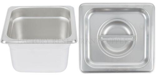 "4 PACK 1/6 Size Stainless Steel w/ LID Steam Prep Table Food Insert Pan 4"" Deep"