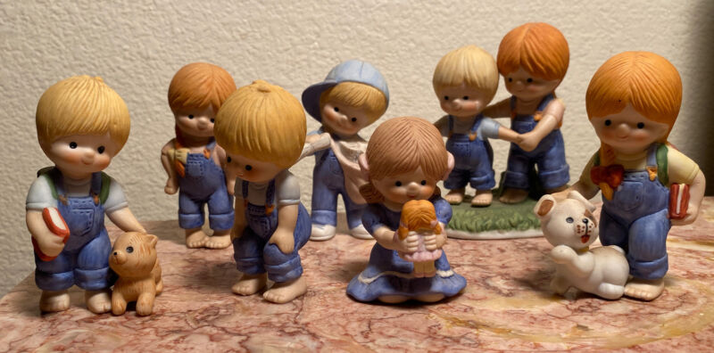 Lot Vintage Enesco Country Cousins Figurines 7 Pieces 1980s