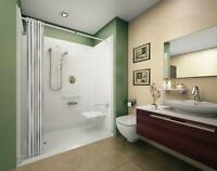 accesible showers, barrier free, roll in, handicap showers