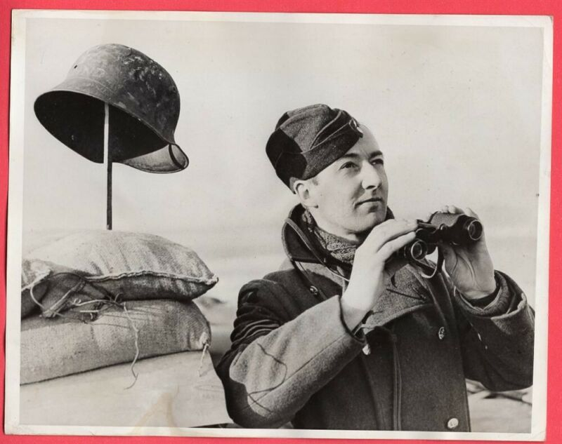 1940 RAF Ground Observer with WWI German Helmet in France Original News Photo