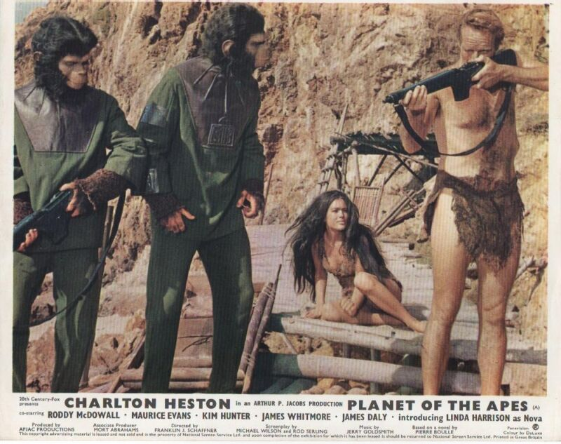 Planet Of The Apes lobby cards - Charlton Heston, Roddy McDowell - mini set of 8