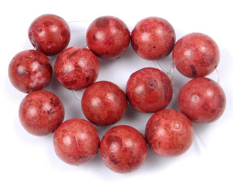 14mm Red Sponge Coral Round Beads (13)