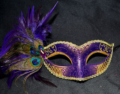 Purple/Gold Women Party Mask Masquerade Mask with Gems & Peacock Feathers - Masquerade Mask With Feathers