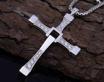 Cross Pendant Necklace Silver Stainless Steel Unisex's Chain Crucifix USA Ship