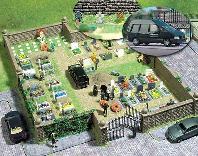 HO Busch 6049 CEMETERY KIT with HEARSE and Tombstones for Funeral Diorama - Cemetery Kit