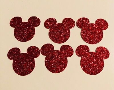 100 Mickey Mouse Head Punch Cut Outs Confetti handmade - Sparkle Red