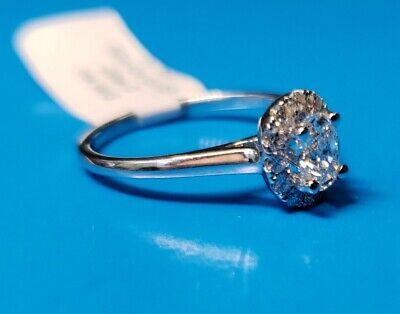 Natural OVAL Diamond G-VS1 GIA Halo 14k W Gold Engagement Ring .72 ctw Sz 6.5  9