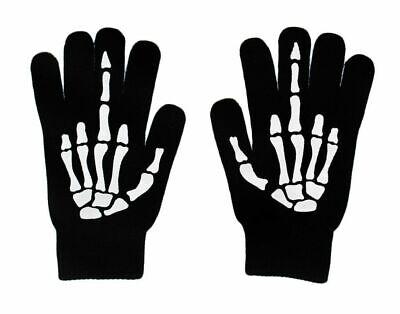 Halloween Black N White (Up Yours Black N' White Short Gloves Women Halloween Skeleton Middle)