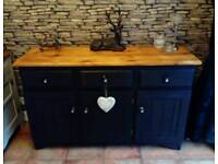 Pine cabinet sideboard painted grey