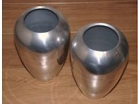 CAST ALUMINIUM VASE URN - NEW - NEVER USED ( PAIR )
