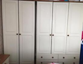 Pine wardrobes double and triple