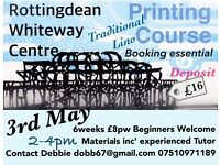 Art Classes Rottingdean 6 weeks: Traditional Relief Print, Lino Carving & Printing