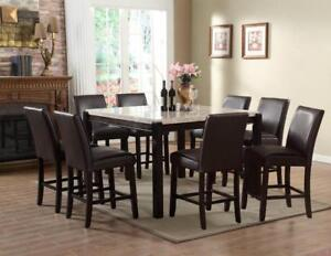 7pc Marble Pub Height Dining set (ME221)