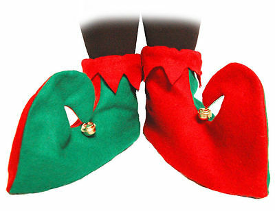 SANTA'S LITTLE HELPER ELF PIXIE BOOTS SHOES CHRISTMAS FANCY DRESS COSTUME - Santa Costume Boots