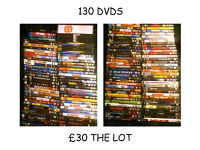 a joblot collection of 130 dvds and boxsts