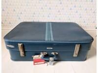 Vintage Foxcroft by Antler large blue suitcase