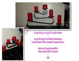 Large Heavy iron pillar 5 candle holder
