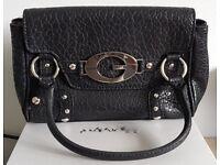 Genuine Black Leather GUESS Handbag Excellent Condition 25 x 15 x 8cm